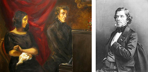 左はショパンの恋人サンドとショパン(ドラクロワ画、この絵は下書きで後に2枚の絵になります。)右はドラクロワ
